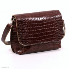Кожаная женская сумка Ева кайман коричневая