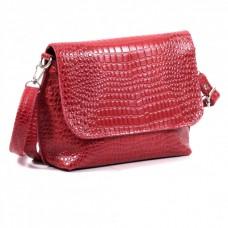 Кожаная женская сумка Ева кайман красная