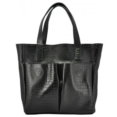 Кожаная женская сумка Палермо крокодиловая черная