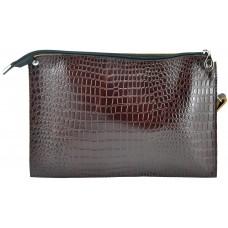 Кожаный женский клатч Лас-Вегас крокодиловый коричневый