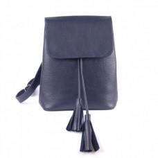 Кожаный женский рюкзак Лейпциг синий