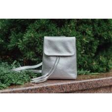 Кожаный женский рюкзак Лейпциг серебро