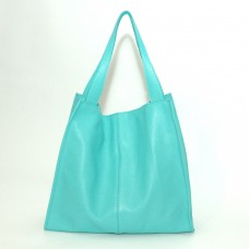 Кожаная женская сумка Mesho бирюзовая