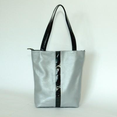Кожаная женская сумка Анна серебряная