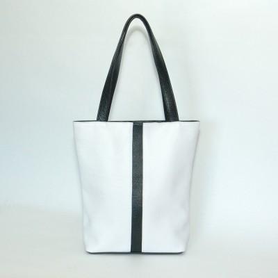 Кожаная женская сумка Анна белая с черным