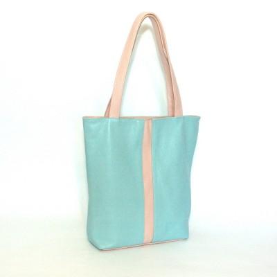 Кожаная женская сумка Анна голубая с пудрой