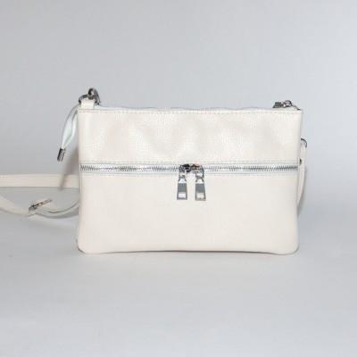 Кожаная женская сумка Лия светлый беж