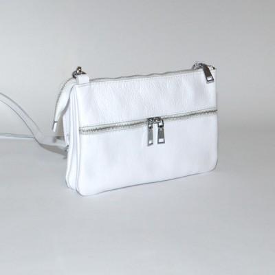 Кожаная женская сумка Лия белая