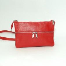 Кожаная женская сумка Лия красная