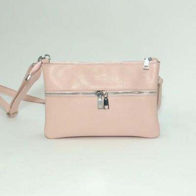 Кожаная женская сумка Лия пудра