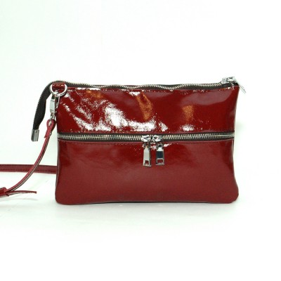 Кожаная женская сумка Лия бордо наплак